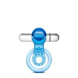 Anel p/ Pénis c/ Vibração Tongue Stay Hard Azul