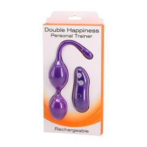 Bolas Vaginais c/ Vibração e Controlo Remoto Double Happiness Roxo